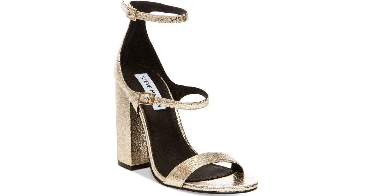 7686e27e1144 Lyst - Steve Madden Women s Parrson Block-heel Sandals in Metallic