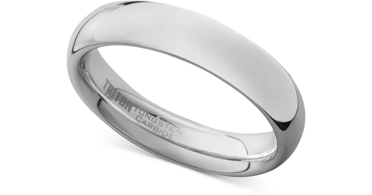 Lyst Triton Men S White Tungsten Carbide Ring Dome Wedding Band 5mm For Save 22 907488986784145