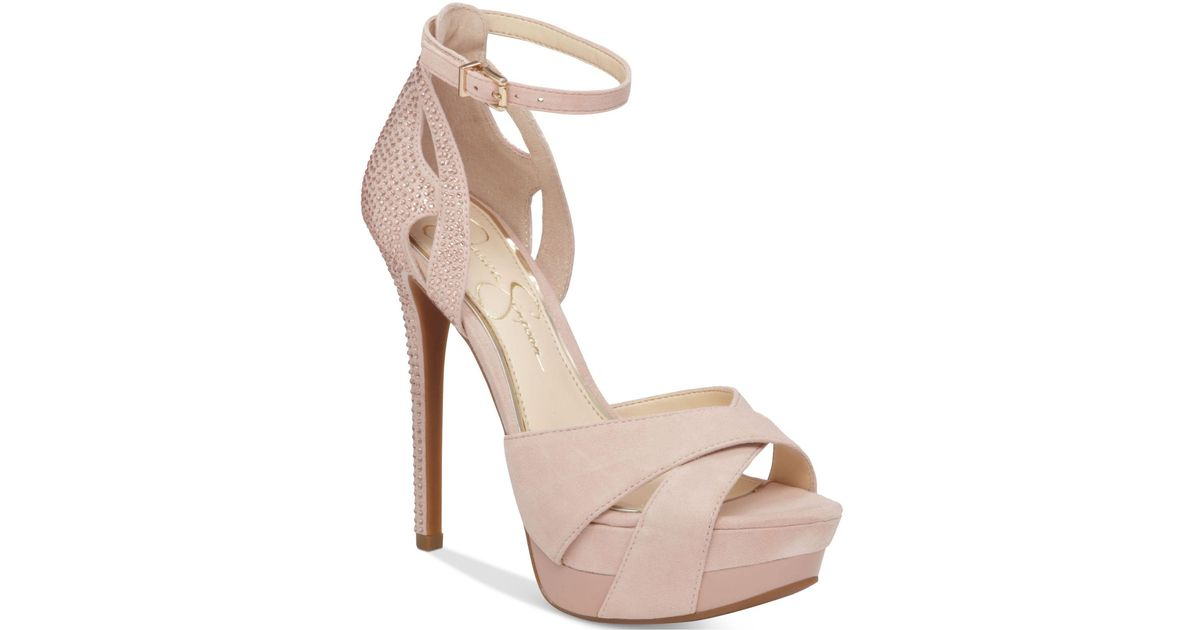 555e6270d96 Lyst - Jessica Simpson Wendah Platform Evening Sandals in Natural