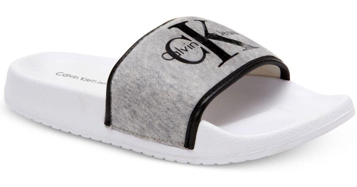 2318f77f7b8 Lyst - Calvin Klein Men s Viggo Jersey Slide Sandals in Gray
