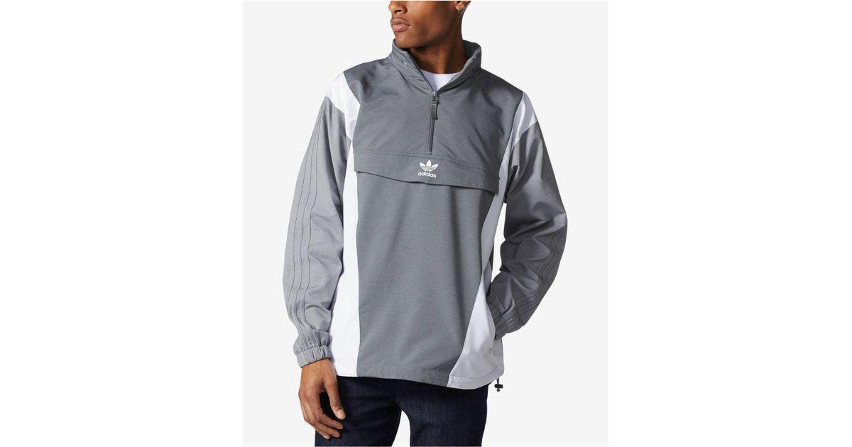 d2db706eb549 Lyst - adidas Men s Colorblocked Half-zip Windbreaker in Gray for Men