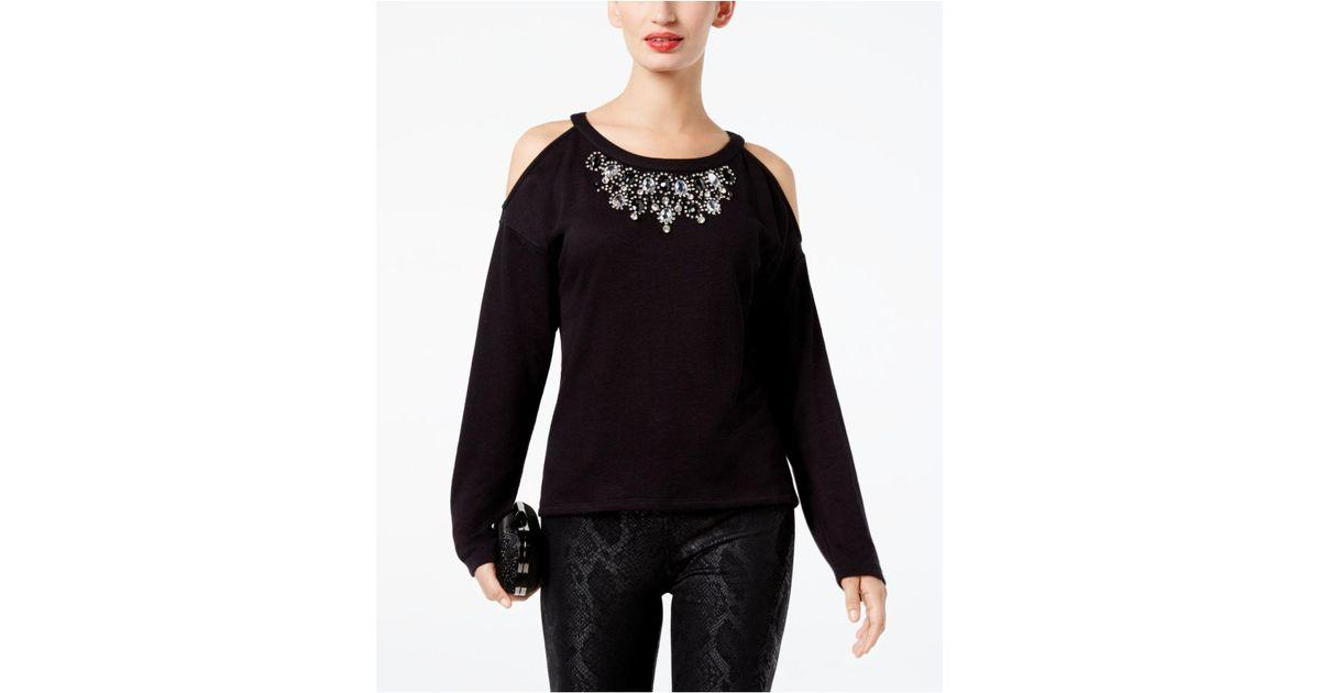 4fe3e0c96abb5f INC International Concepts Rhinestone-embellished Cold-shoulder Top in Black  - Lyst
