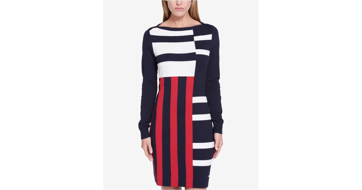 353c0c92ee3 Lyst - Tommy Hilfiger Mixed-stripe Sweater Dress in Blue