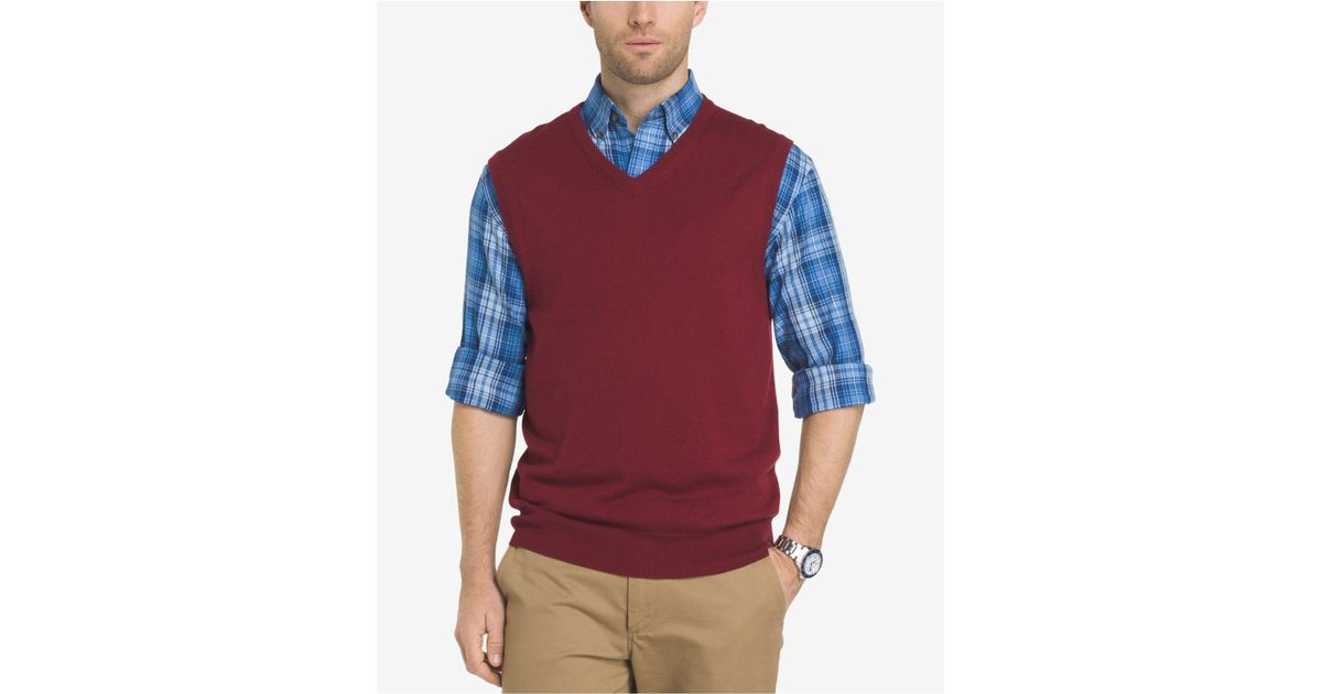 Izod Men's Fieldhouse Sweater Vest in Red for Men | Lyst