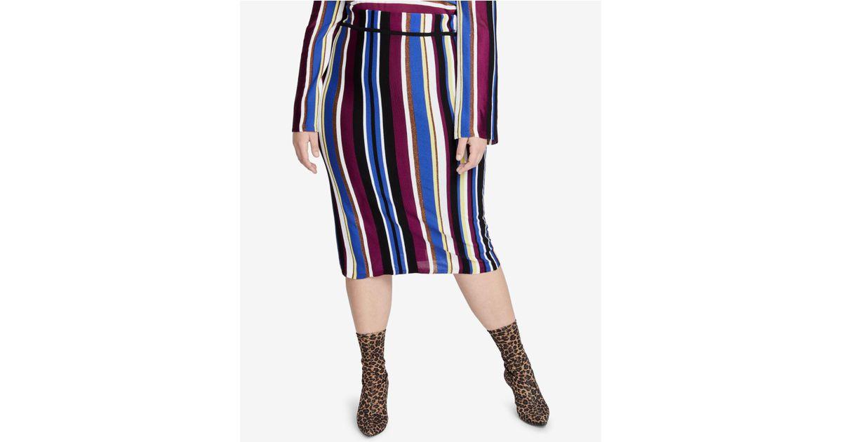 0379e31280 RACHEL Rachel Roy Metallic Stripe Pencil Skirt (plus Size) in Blue - Lyst