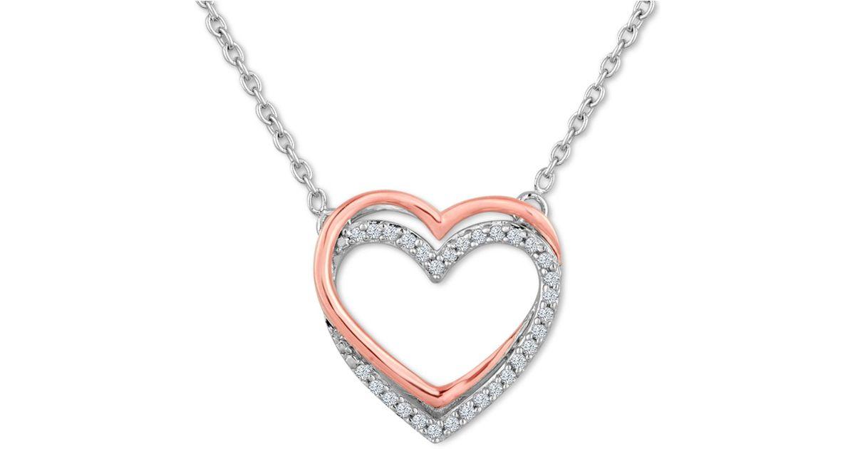 27b1f6c15e6d7 Lyst Macy S Diamond 1 10 Ct T W Double Heart Pendant Necklace