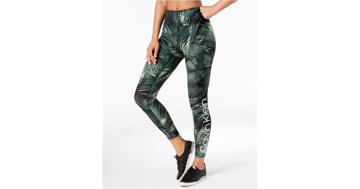 8f2ffde6616a0 Calvin Klein Performance Mustique Printed High-rise Logo Leggings in Green  - Lyst