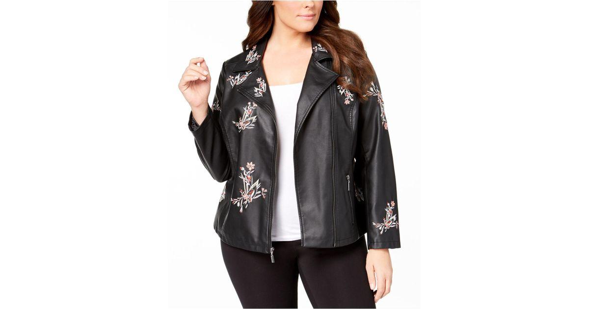 2c06b8b47 Alfani - Black Plus Size Embroidered Faux-leather Jacket - Lyst
