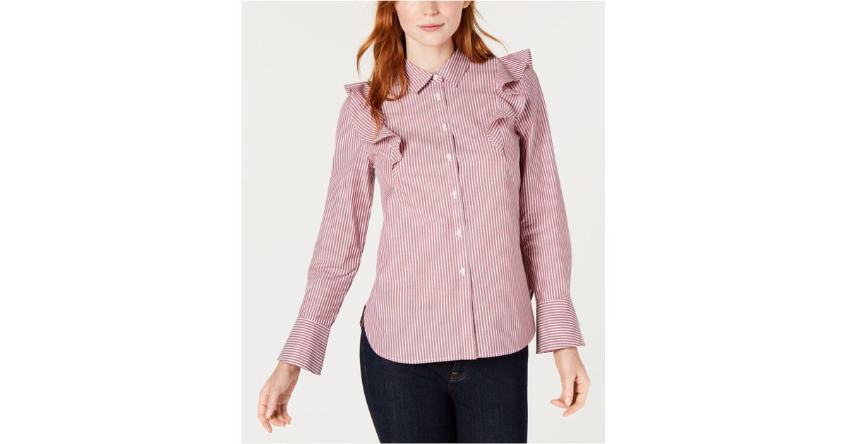 a7dced427 Tommy Hilfiger Cotton Striped Ruffle Blouse, Created For Macy's in Pink -  Lyst