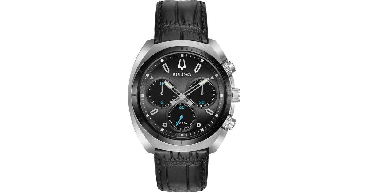 05109868d Bulova Men's Chronograph Curv Black Leather Strap Watch 43mm 98a155 in Black  for Men - Lyst