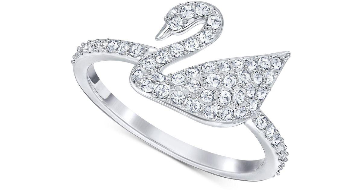 031c7b749 Lyst Swarovski Silver Tone Crystal Swan Logo Ring In Metallic