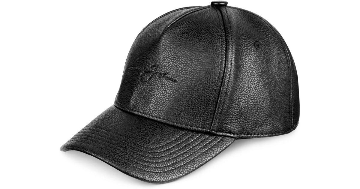 b0e03b0a30a76 Lyst - Sean John Men s Faux Leather Cap in Black for Men