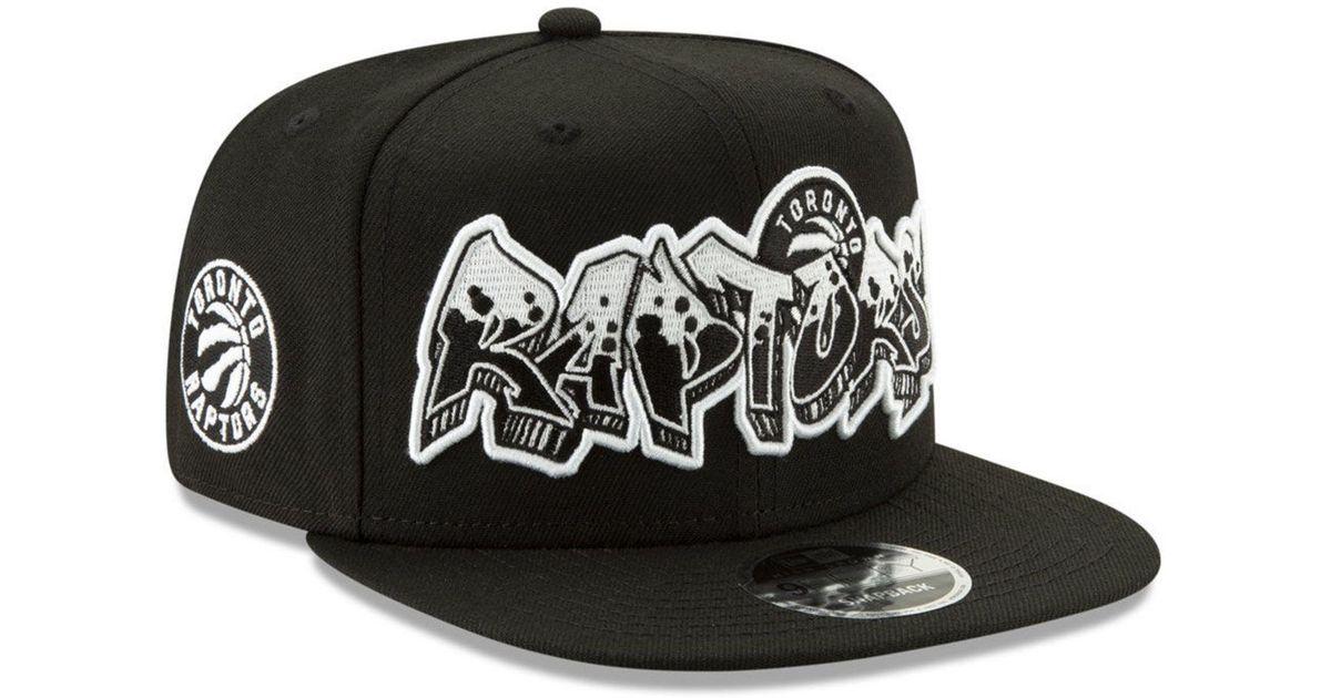 best sneakers 785d2 65e6d KTZ Toronto Raptors Retroword Black White 9fifty Snapback Cap in Black for  Men - Lyst