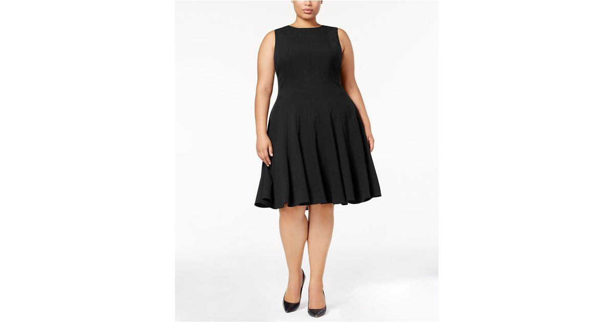 Lyst Calvin Klein Plus Size Pleated A Line Dress In Black