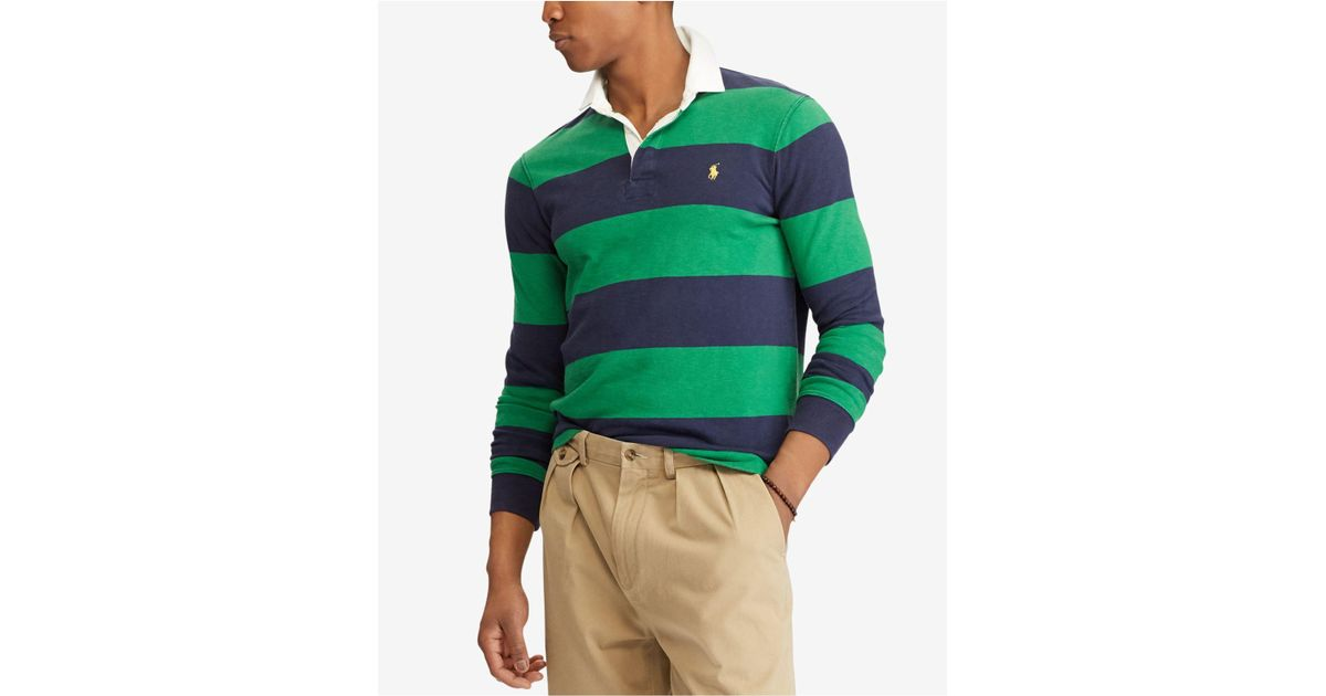 b8e3ee70 ... order lyst polo ralph lauren iconic striped rugby polo shirt in green  for men ddc57 c4587
