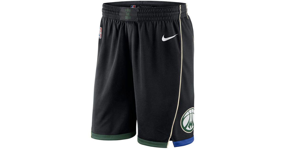 a41885e1c0f Lyst - Nike Milwaukee Bucks Statement Swingman Shorts in Black for Men