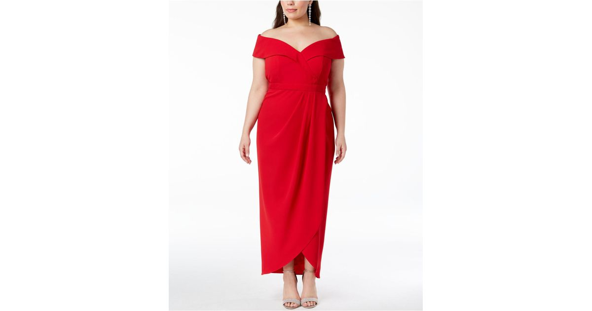 3af1a1f3 Xscape Plus Size Off-the-shoulder Gown in Red - Lyst