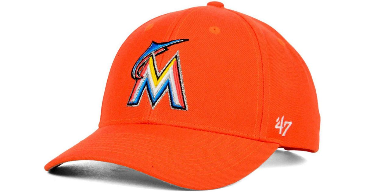641cff620749c ... discount lyst 47 brand miami marlins mvp curved cap in orange for men  03ba8 63359