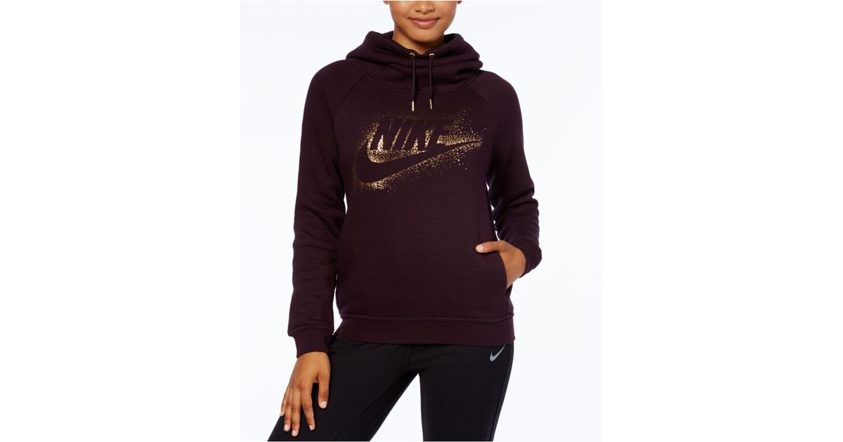 786c00a267fb ... Grey  Lyst - Nike Sportswear Rally Funnel-neck Metallic-logo Hoodie ...