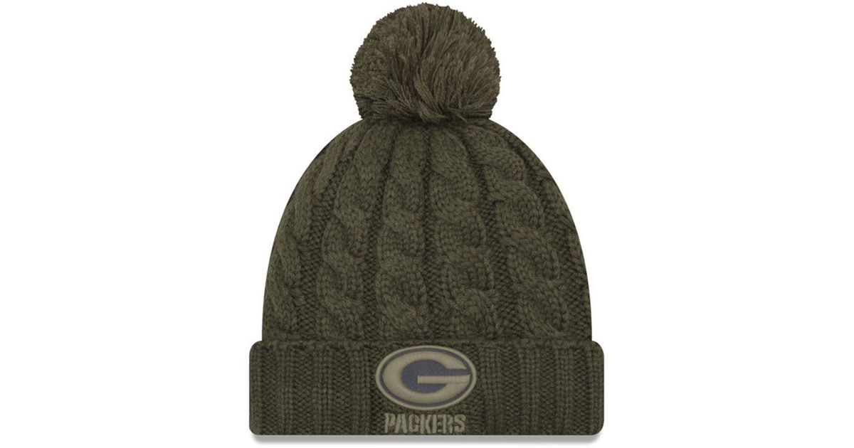 Lyst - KTZ Green Bay Packers Salute To Service Pom Knit Hat in Green cad036550