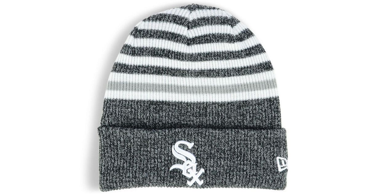 29a0c623e8b Lyst - KTZ Chicago White Sox Striped Cuff Knit Hat in White