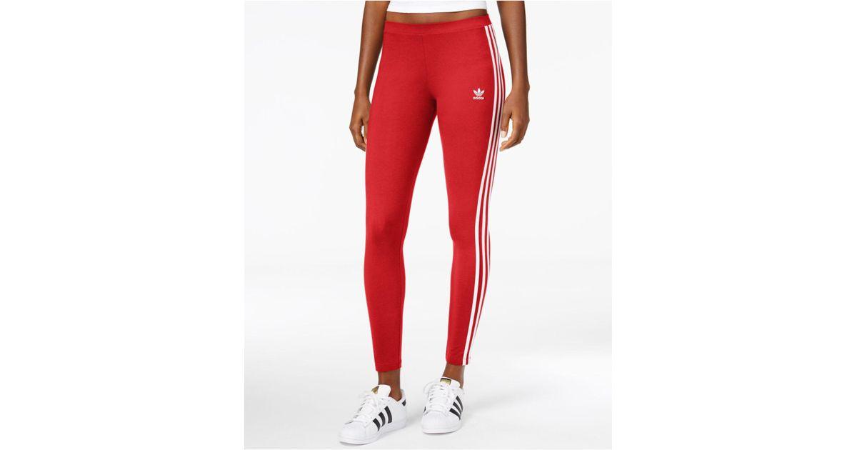 dd164d18dcb9a adidas Originals 3-stripe Leggings in Red - Lyst