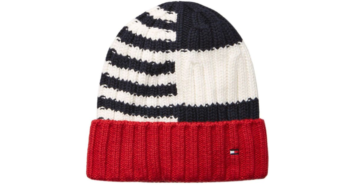 Lyst - Tommy Hilfiger Men s Rugby Striped Beanie in Blue for Men 4b50b104737f