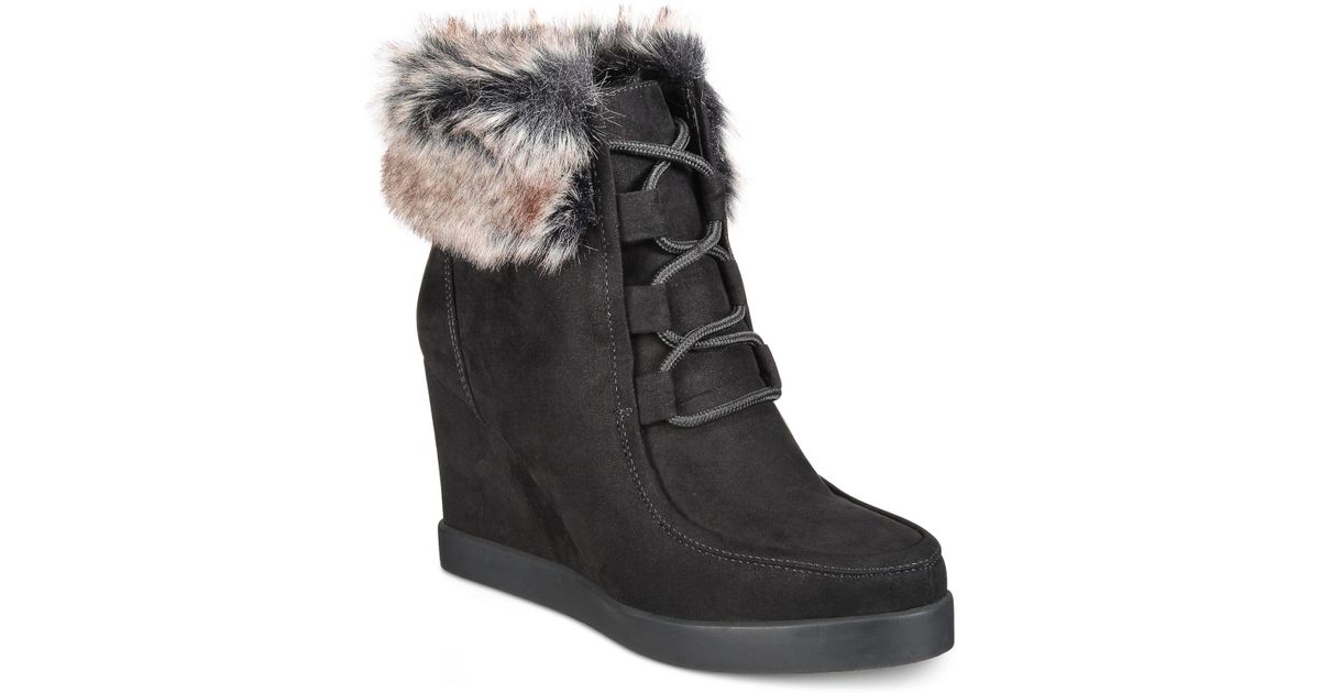 14157c0985a3 Lyst - Esprit Felice Memory Foam Wedge Booties in Black