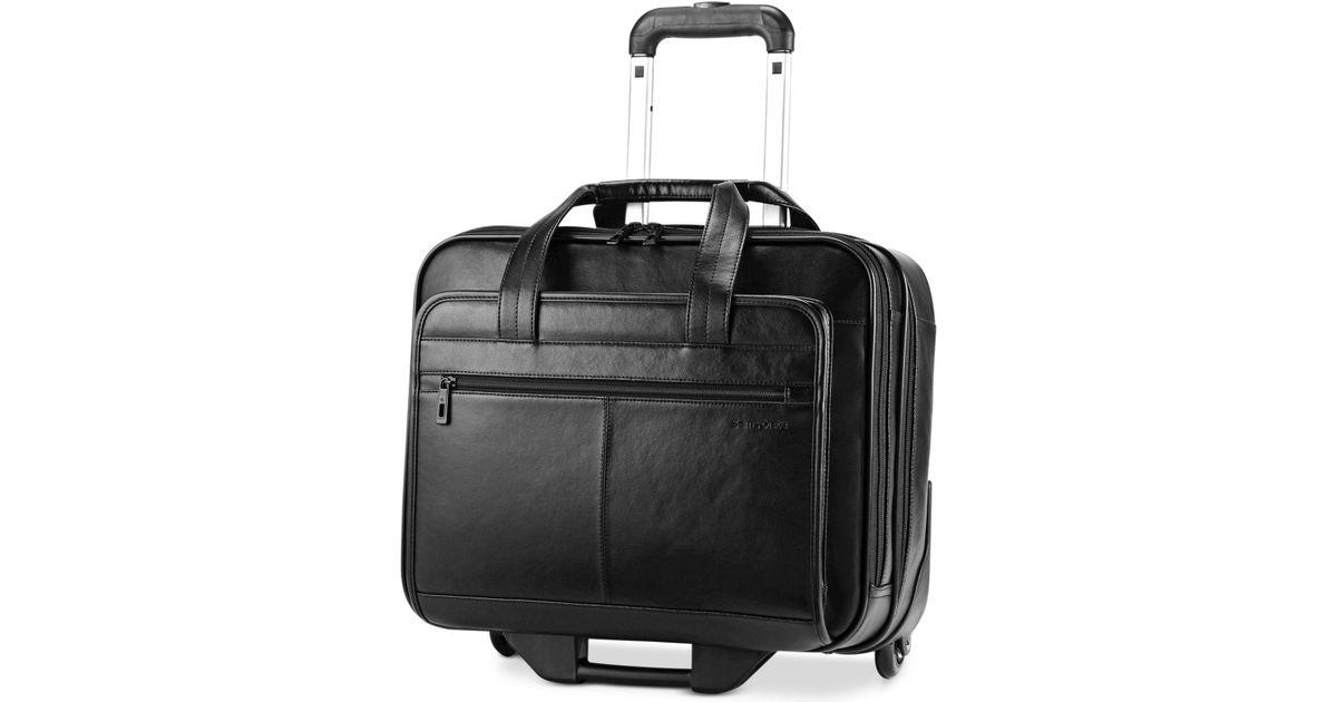 Samsonite Rolling Leather Business Case Mobile Office In Black For Men Lyst