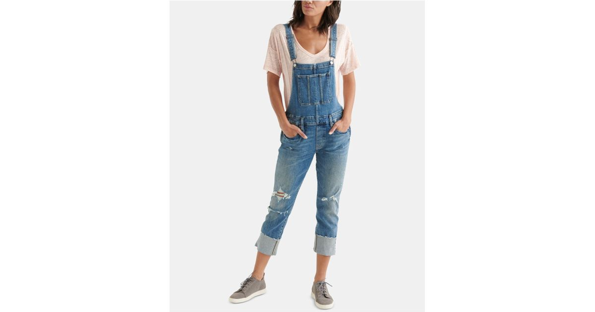2d883a3fc29 Lyst - Lucky Brand Boyfriend Overall With 4 Cuff In Elidge (elidge) Women s  Jumpsuit   Rompers One Piece in Blue - Save 50%