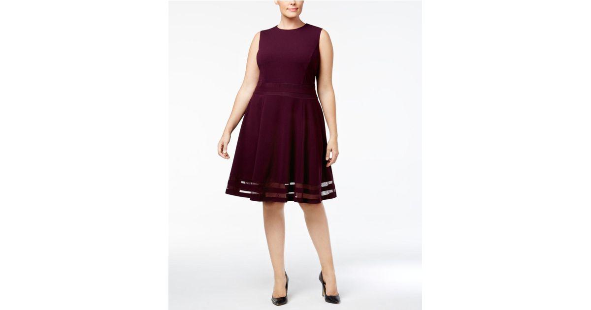 25157b37d5744 Lyst - Calvin Klein Plus Size Illusion-trim Fit   Flare Dress in Purple