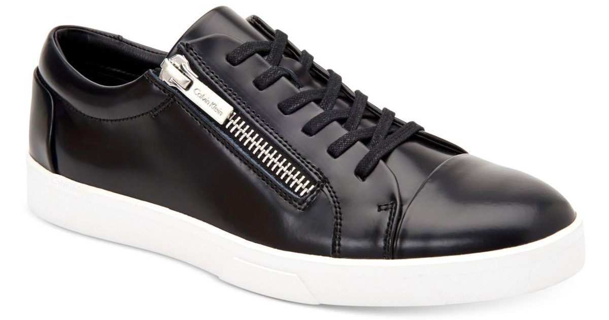 Lyst - Calvin Klein 205W39Nyc Men's Ibrahim Box Leather Sneakers in Black  for Men