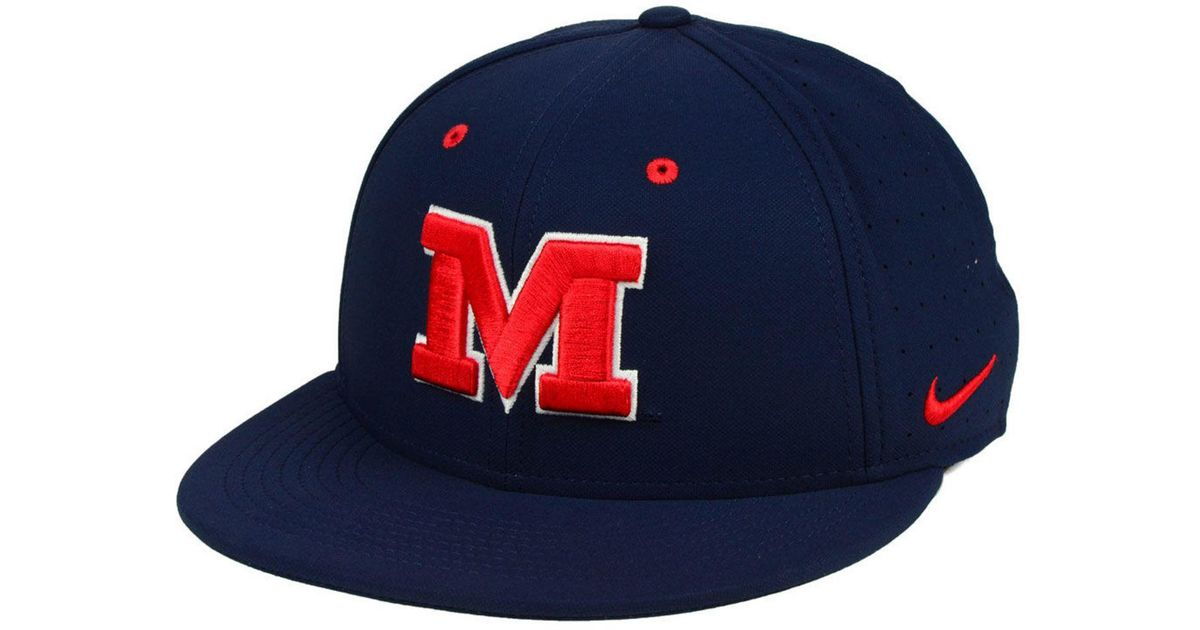 los angeles 57098 41da0 ... promo code for lyst nike ole miss rebels aerobill true fitted baseball  cap in blue for