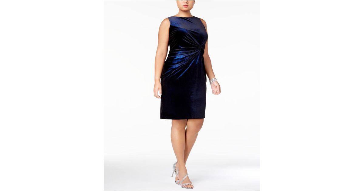 Lyst Calvin Klein Plus Size Sparkle Velvet Twist Front Dress In Blue
