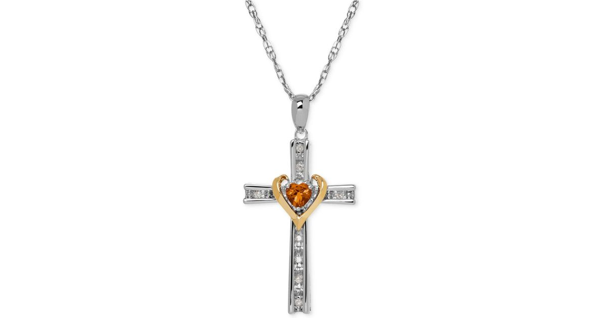 Lyst macys citrine 14 ct tw and diamond accent cross lyst macys citrine 14 ct tw and diamond accent cross pendant necklace in sterling silver and 14k gold in metallic aloadofball Gallery