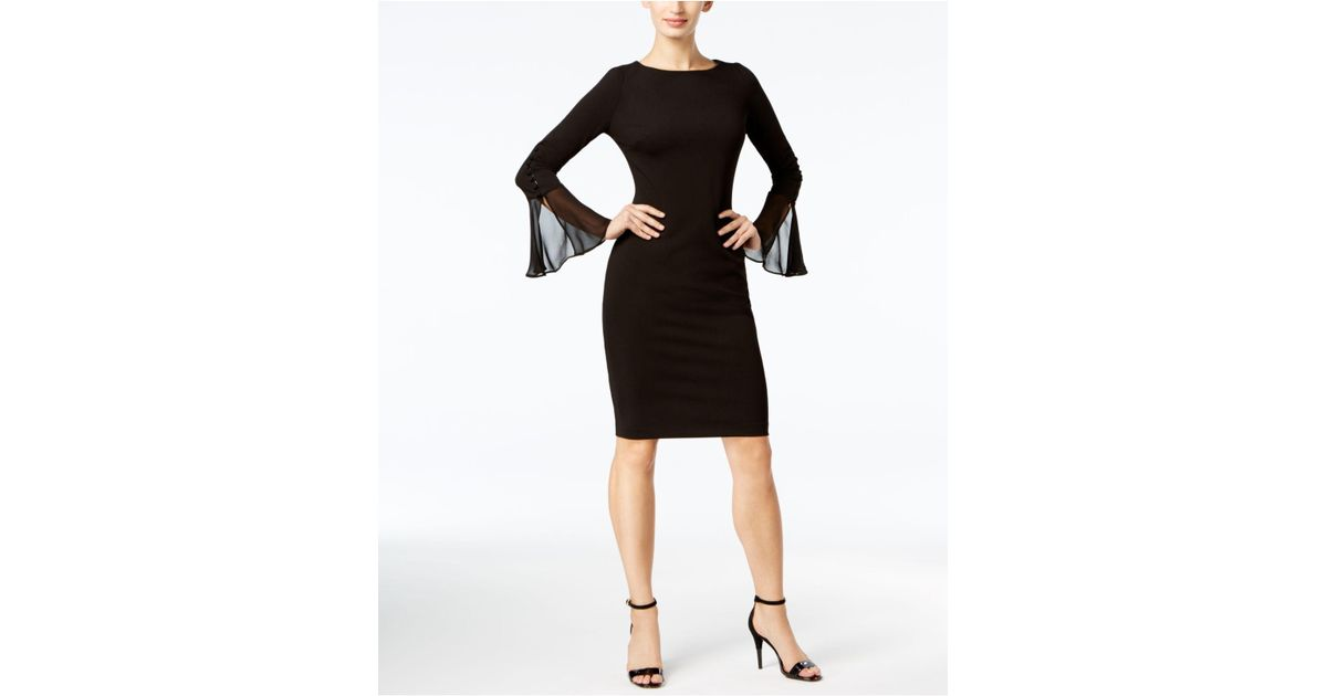 Lyst Calvin Klein Bell Sleeves Knee Length Party Dress In Black