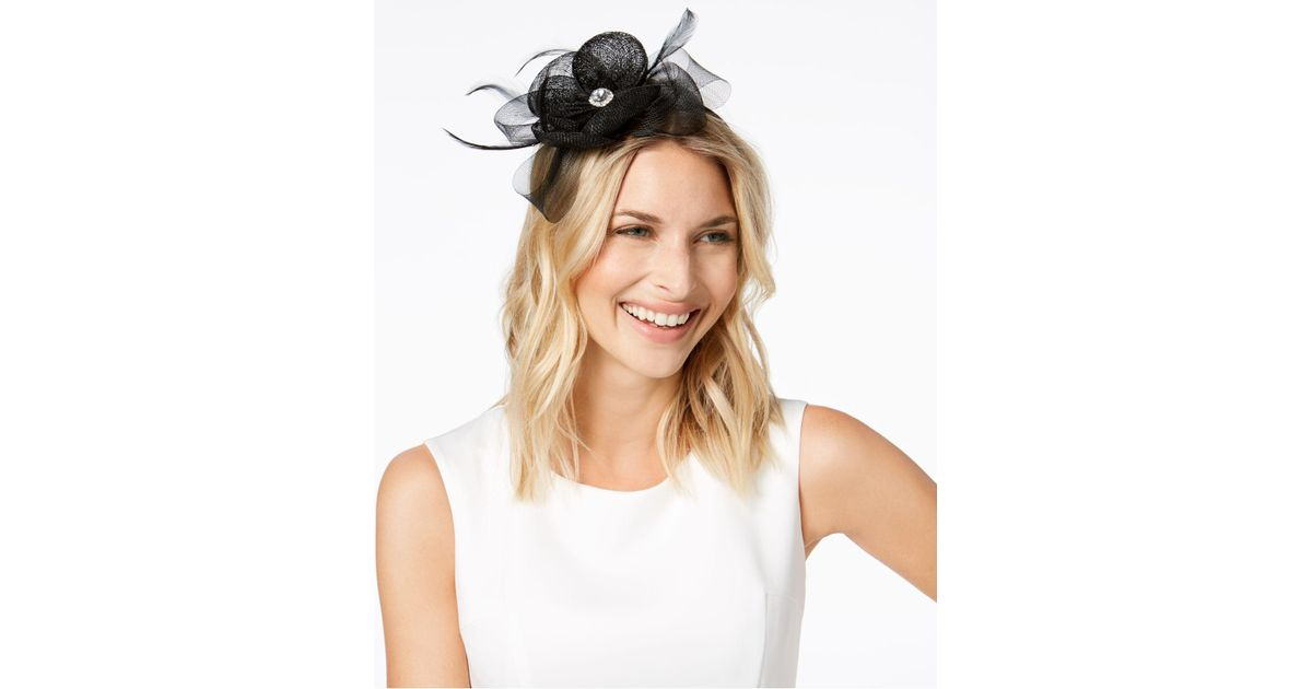 1942dfbdf9576 Lyst - August Accessories Rhinestone Fascinator in Black