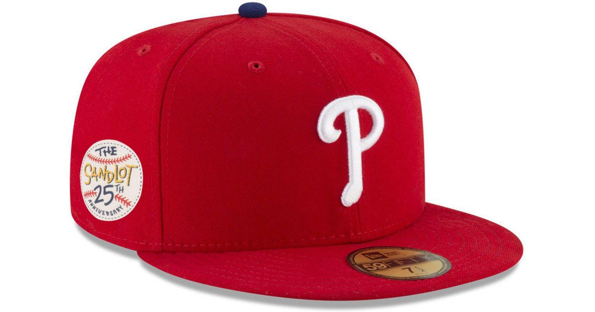 Lyst - KTZ Philadelphia Phillies Sandlot Patch 59fifty Fitted Cap in Red  for Men 045042a3b28