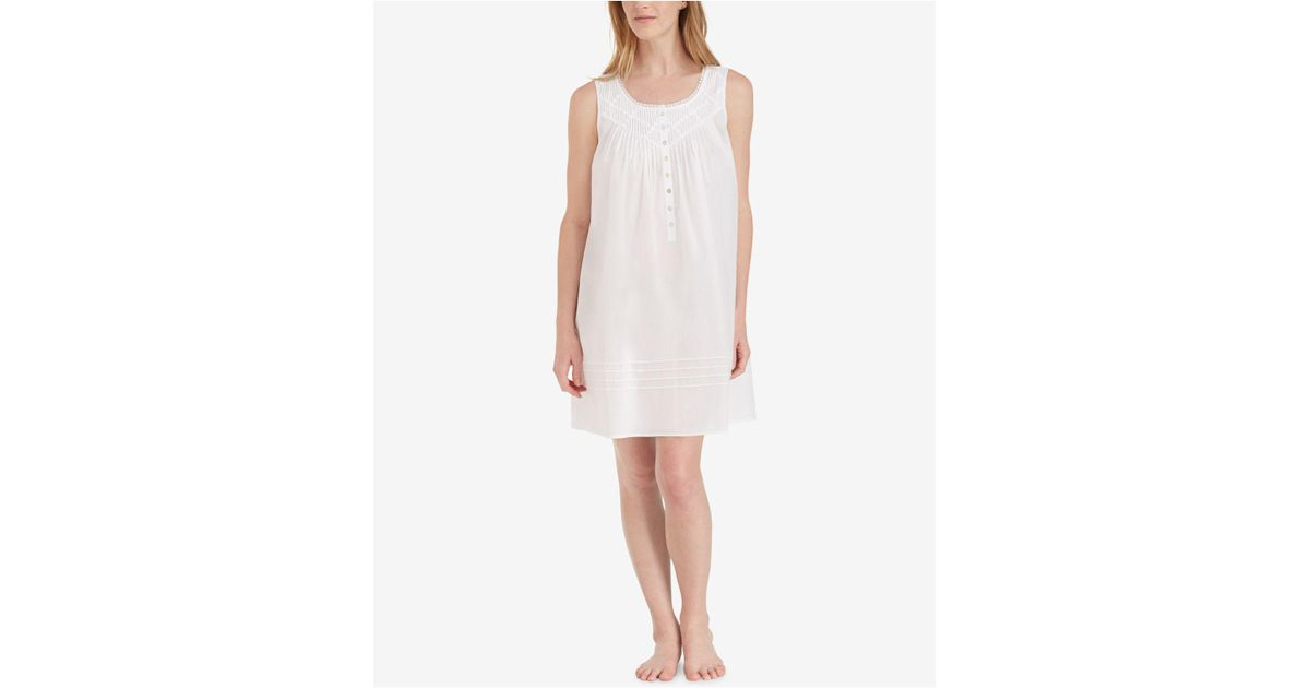 d3b079fd57 Lyst - Eileen West Cotton Lace-trim Short Nightgown in White