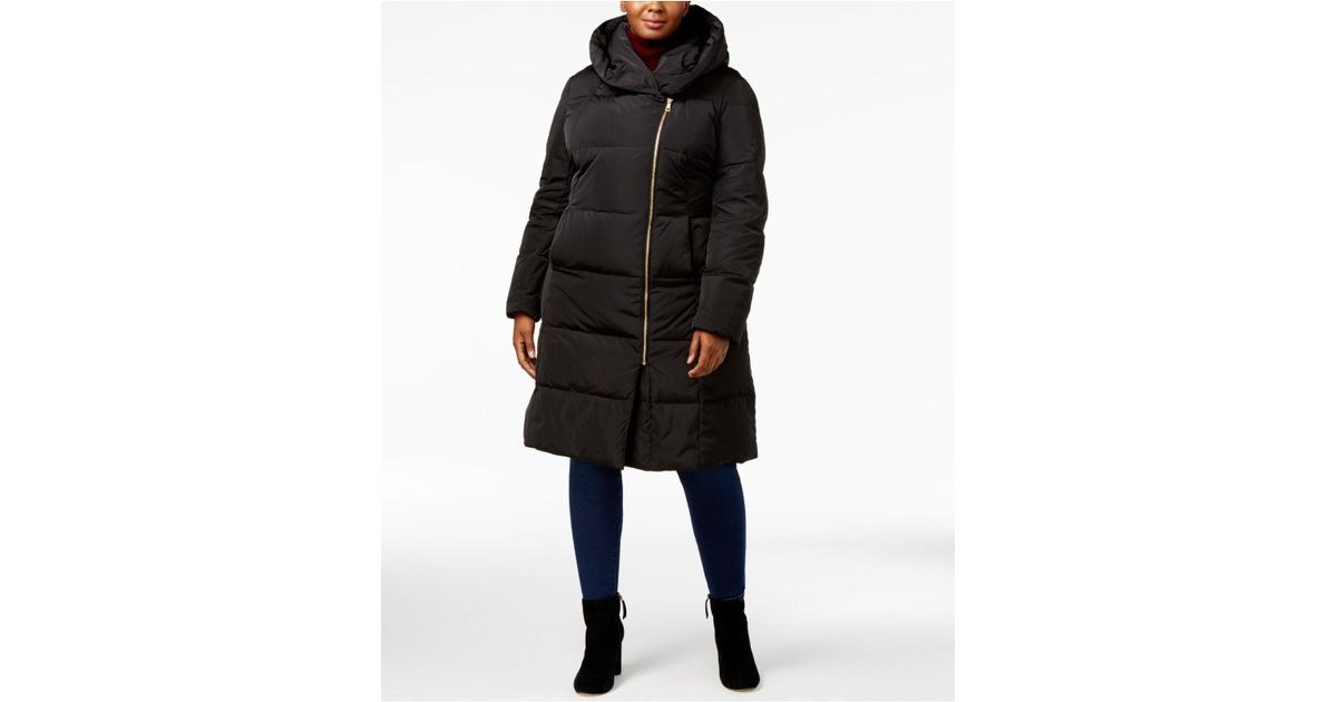 e5e5498afb3 Lyst - Cole Haan Signature Plus Size Pillow-collar Heavyweight Puffer Coat  in Black