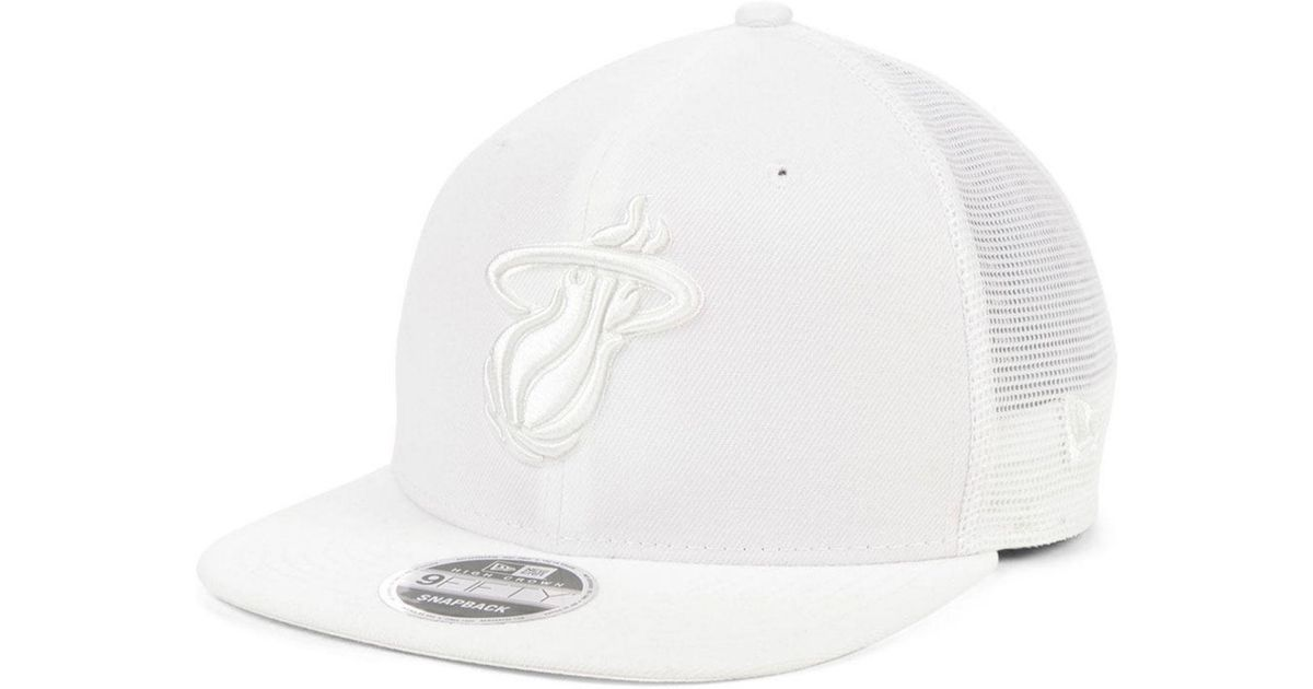newest e2a18 55f5b KTZ Miami Heat Dub Fresh Trucker 9fifty Snapback Cap in White for Men - Lyst