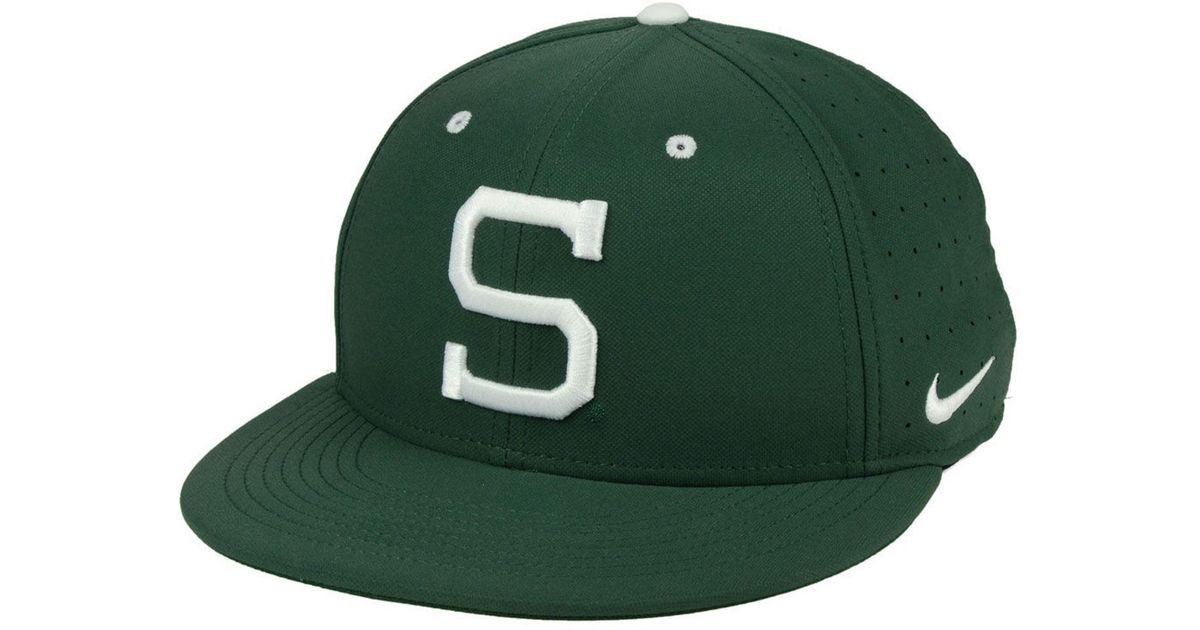 b9ac2fd0b5d6 ... where to buy lyst nike michigan state spartans aerobill true fitted  baseball cap in green for