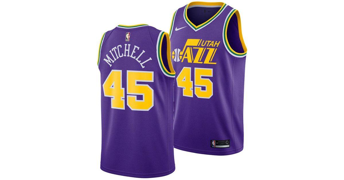 a38a5840ebd Nike Donovan Mitchell Utah Jazz Hardwood Classic Swingman Jersey in Purple  for Men - Lyst