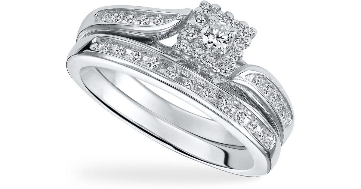 Macy s Diamond Engagement Ring Set In Sterling Silver 1 4 Ct T w in M