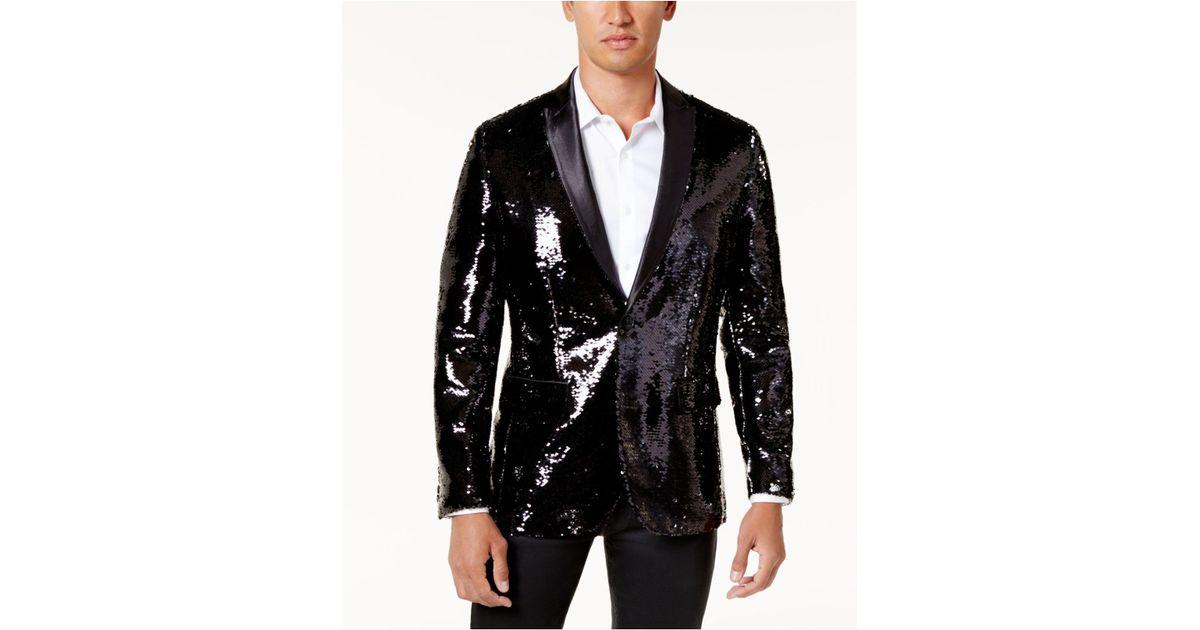 f3d9f550353b Lyst - INC International Concepts Men s Slim-fit Sequined Blazer in Black  for Men - Save 21%