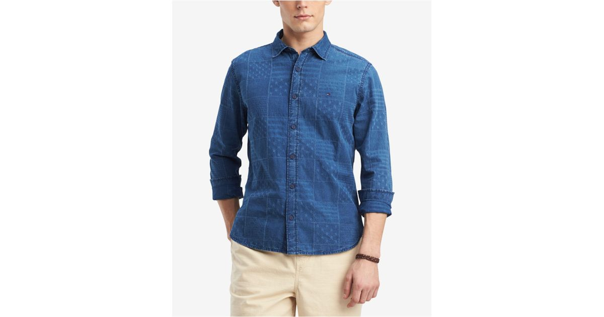 51cc2dc3aa Lyst - Tommy Hilfiger Stars & Stripes Patchwork Print Denim Shirt, Created  For Macy's in Blue for Men