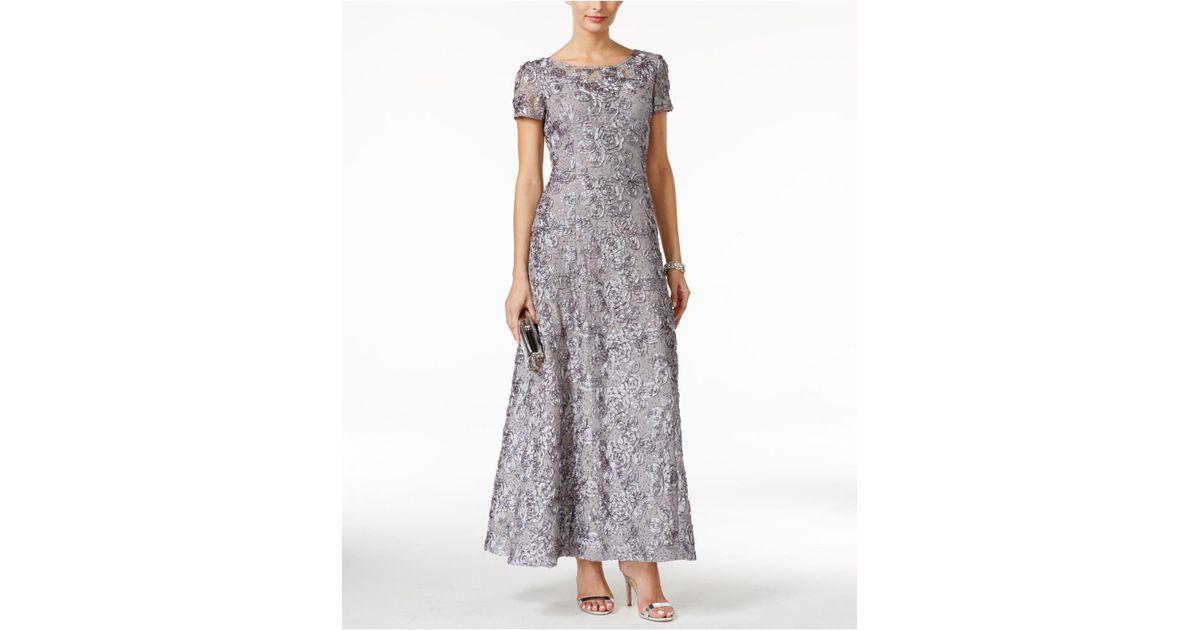 c035e85b23d65 Alex Evenings A-line Rosette Dress in Gray - Lyst