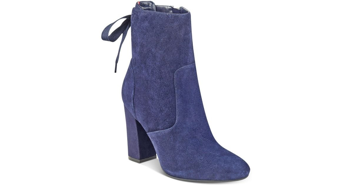 fc462ddc3621 Lyst - Tommy Hilfiger Divah Lace-up Booties in Blue