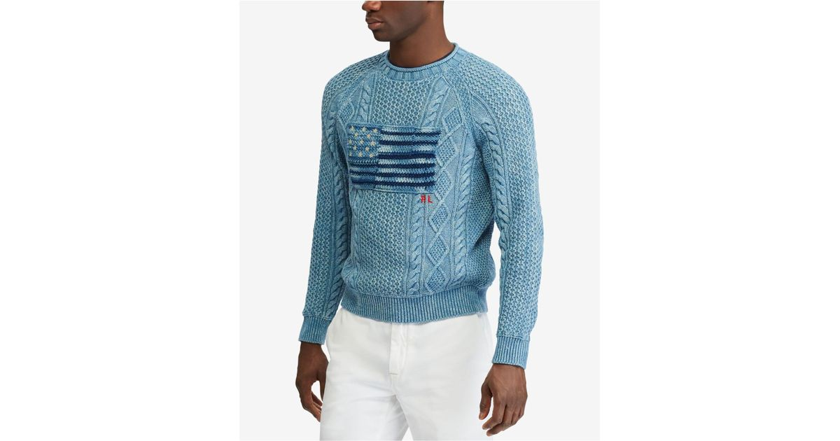 25568c852 Polo Ralph Lauren Indigo Flag Crewneck Sweater in Blue for Men - Lyst