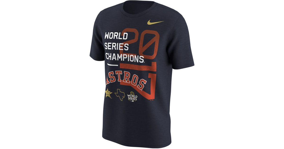 a3badc9f Lyst - Nike Houston Astros 2017 Men's World Series Champs Celebration T- shirt in Blue for Men